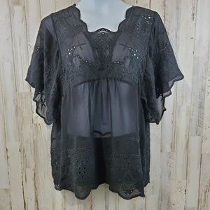 Meadow Rue Womens Top L Black Boho Sheer Eyelet